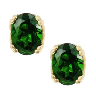 One-of-a-kind Michael Valitutti 14K Yellow Gold Chrome Diopside Stud Earrings