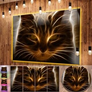Designart 'Glowing Fractal Cat Illustration' Animal Aluminium Wall Decor