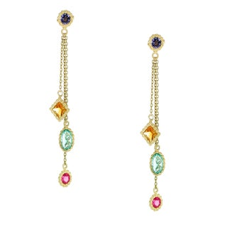 One-of-a-kind Michael Valitutti 14K Yellow Gold Citrine, Apatite, Iolite and Pink Tourmaline Danging Earrings