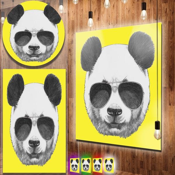 Designart \'Funny Panda with Sunglasses\' Large Animal Metal Wall Art ...