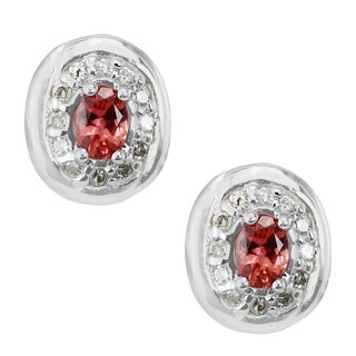 One-of-a-kind Michael Valitutti 18K White Gold Padparadscha Sapphire and Diamond Stud Earrings