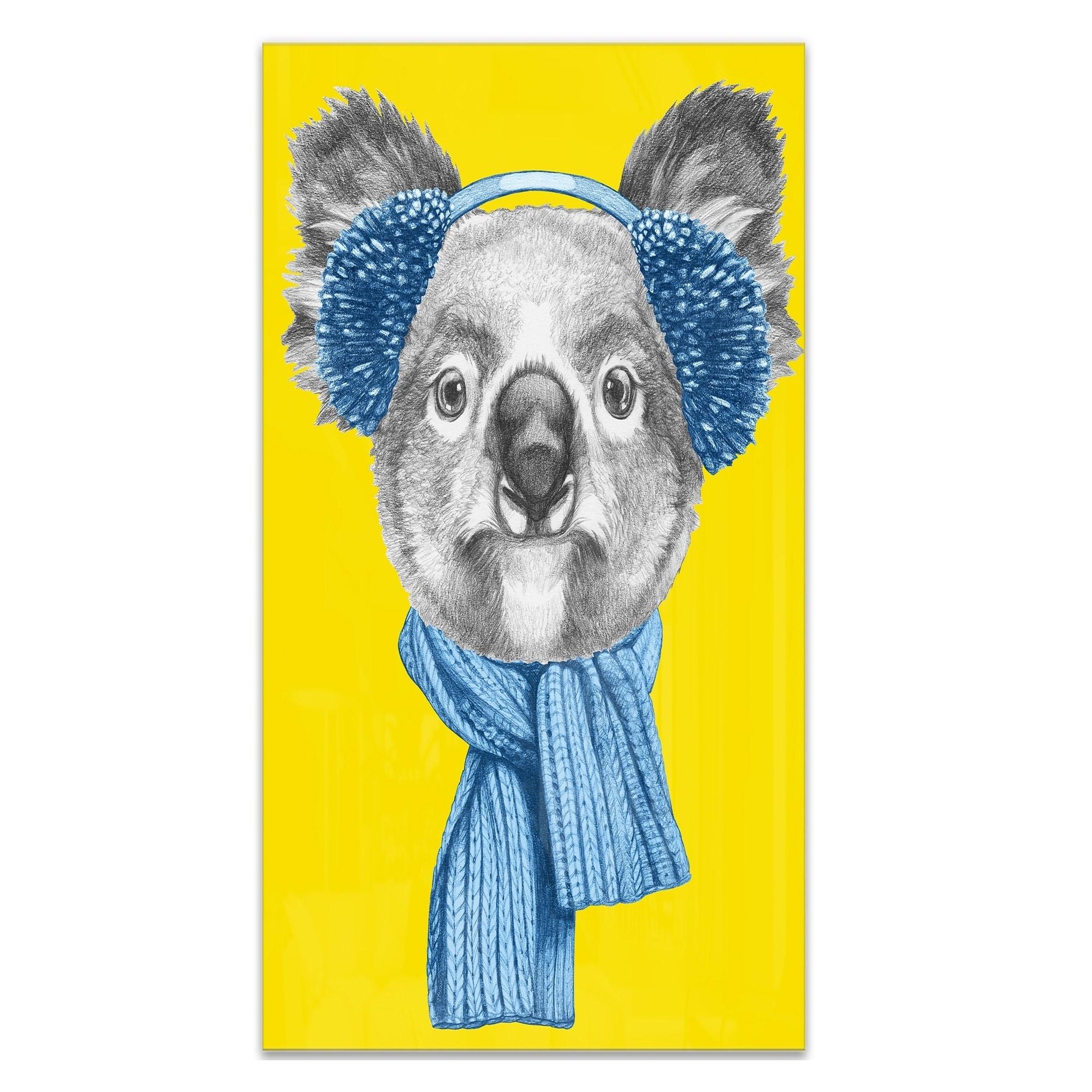 Details about Designart \'Koala with Scarf and Earmuffs\' Modern Animal Metal Wall Art