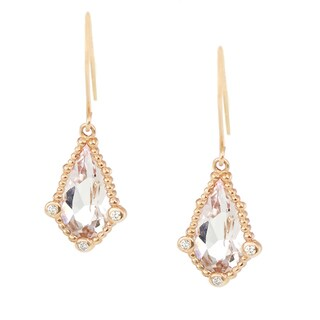 One-of-a-kind Michael Valitutti 14K Pink Morganite and Diamond Danging Earrings
