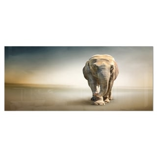 Designart 'Smart Elephant Walking' Large Animal Metal Wall Art