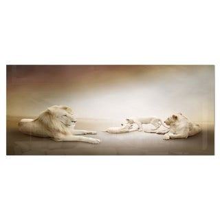 Designart 'White Lion Family' Large Animal Metal Wall Art