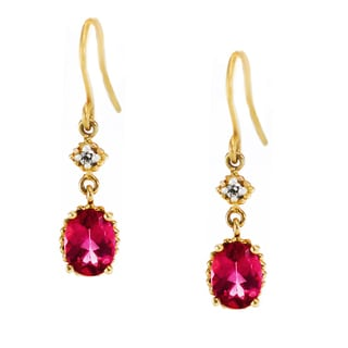 One-of-a-kind Michael Valitutti 14K Yellow Gold Pink Tourmaline and Diamond Earrings