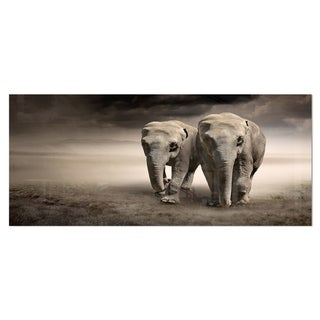 Designart 'Elephant Pair in Motion' Large Animal Metal Wall Art