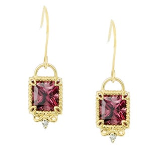 One-of-a-kind Michael Valitutti 14K Yellow Gold Rhodolite and Diamond Earrings