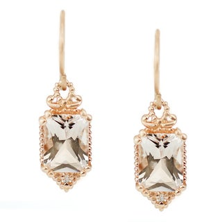 One-of-a-kind Michael Valitutti 14K Pink Radiant Cut Morganite and Diamond Danging Earrings
