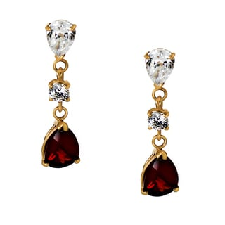 One-of-a-kind Michael Valitutti 14K Yellow Gold Pear Almandite Garnet and Cubic Zirconia Earrings