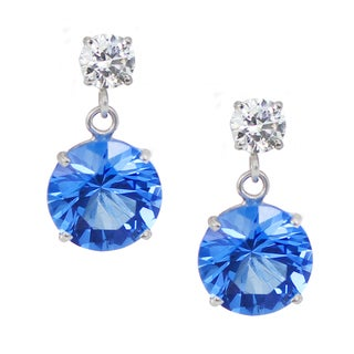 One-of-a-kind Michael Valitutti 10K White Gold Swiss Blue Topaz and Cubic Zirconia Earrings