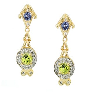 One-of-a-kind Michael Valitutti 14K Yellow Gold Canary Tourmaline, Tanzanite and Diamond Earrings