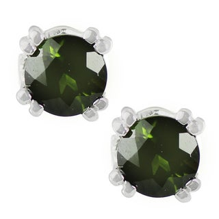 One-of-a-kind Michael Valitutti Platinum Green Tourmaline Stud Earrings