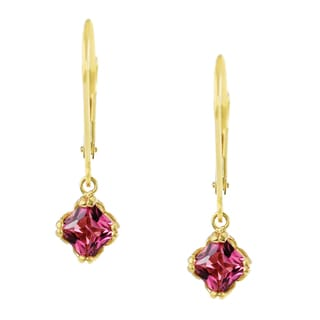 One-of-a-kind Michael Valitutti 14K Yellow Gold Princess Cut Pink Tourmaline Leverback Earrings