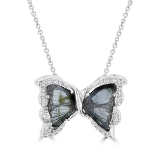 Vita Vital 14k White Gold 3 1/10ct Tourmaline and 1/5ct TDW Diamond Butterfly Pendant (G-H, SI1-SI2)