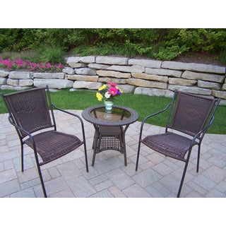Merit Resin Wicker Stackable Chairs and Side Table Set
