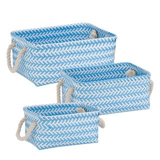 Zig Zag Set of 3 Bskt: Lt Blue