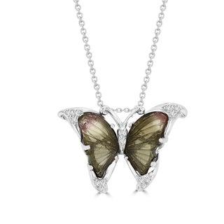 Vita Vital 14k White Gold 4ct Natural Tourmaline and 1/10ct TDW Diamond Butterfly Pendant