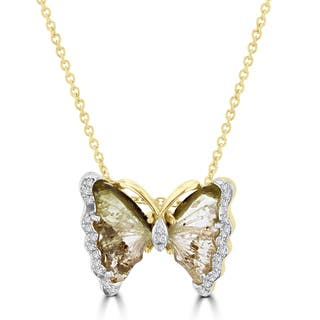 Vita Vital 14k Yellow Gold 2 1/2ct Natural Tourmaline and 1/10ct TDW Diamond Butterfly Pendant https://ak1.ostkcdn.com/images/products/13622860/P20293531.jpg?impolicy=medium