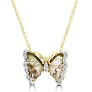 Vita Vital 14k Yellow Gold 2 1/2ct Natural Tourmaline and 1/10ct TDW Diamond Butterfly Pendant