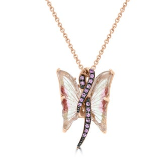 Vita Vital 14k Rose Gold 3 1/2ct Tourmaline and Pink Sapphire Butterfly Necklace