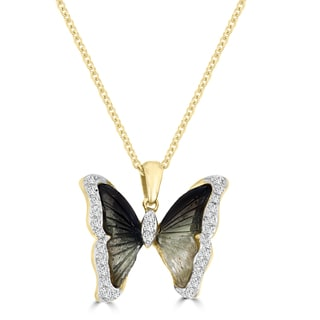 Vita Vital 14k Yellow Gold 2 3/8ct Natural Tourmaline and 1/5ct TDW Diamond Butterfly Pendant Necklace (G-H, SI1, SI2)