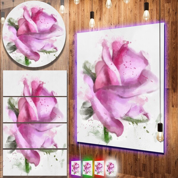 Designart 'Pink Rose Drawing Watercolor' Modern Floral Metal Wall Art