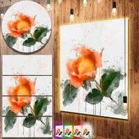 Designart 'Orange Rose Sketch Watercolor' Modern Floral Metal Wall Art