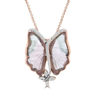 Vita Vital 14k Rose Gold 12 1/2ct Natural Tourmaline and 1/5ct TDW Diamond Butterfly Necklace (G-H, SI1-SI2)