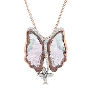 Vita Vital 14k Rose Gold 12 1/2ct Natural Tourmaline and 1/5ct TDW Diamond Butterfly Necklace