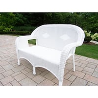 Calabasas White Resin Wicker Loveseat