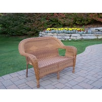 Calabasas Tan Resin Wicker Loveseat