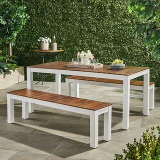 Bali Outdoor Contemporary 3 Piece Acacia Wood Picnic Dining Set with Benches by Christopher Knight Home