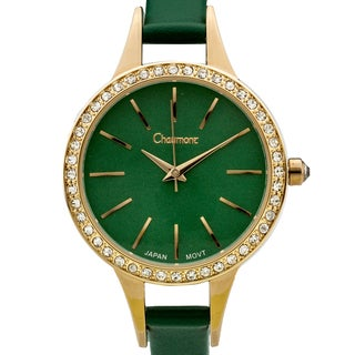 Chaumont Kiri Women's Gold-Tone and Green Minimalist Dial Crystal Accented Thin Strap Watch 36mm