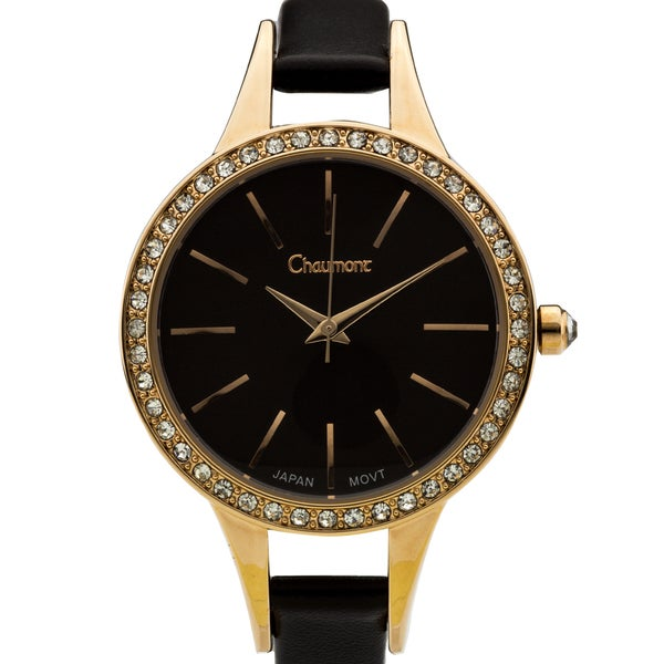Chaumont Kiri Women's Gold-Tone and Black Minimalist Dial Crystal Accented Thin Strap Watch 36mm