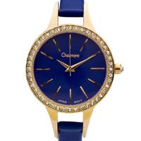Chaumont Kiri Women's Gold-Tone and Blue Minimalist Dial Crystal Accented Thin Strap Watch 36mm