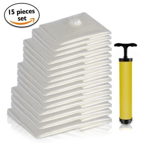 SereneLife SLVBST15 Vacuum Storage Bags - Air Tight Space Saver Bag Bundle (15 Bags)