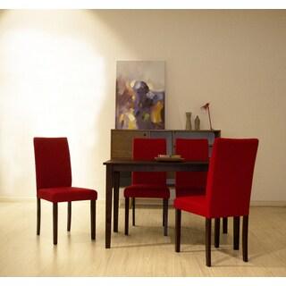 Warehouse of Tiffany Shino Crimson Linen and Cappuccino Wood 5-piece Dining Set