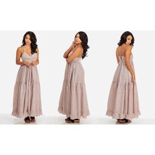 Lani Women's Pink Cotton Floral Printed Maxi Dress