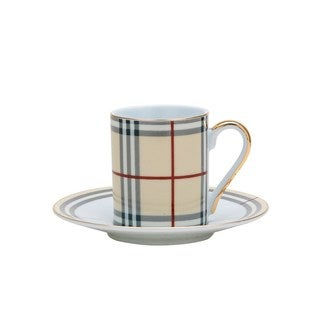 Plaid Porcelain Tea Coffee Cup and Saucer 12-piece Set