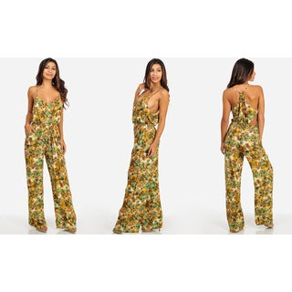 Women's Yellow Floral Cotton Junior Size Spaghetti Strap Jumpsuit