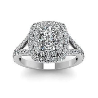 14k White Gold 1 4/5ct TDW White Diamond Double Halo GIA Certified Engagement Ring (I-J, I1-I2)