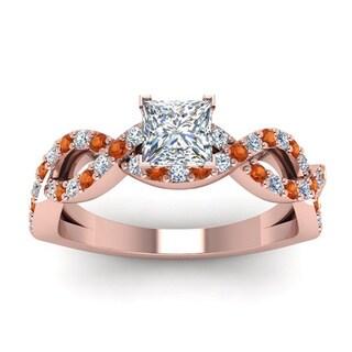 14k Rose Gold 7/8ct TDW White Diamond and Orange Sapphire GIA Certified Infinity Ring