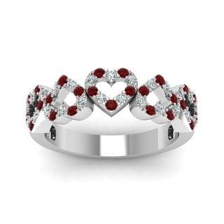 14K White Gold 1/5ct Round Cut Diamond & Ruby Heart Design Wedding Band