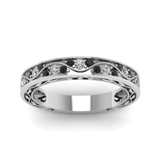 14K White Gold 1/3ct Diamond Antique Women's Wedding Band