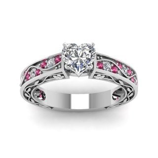 14k White Gold 1/2ct TDW Diamond and Pink Sapphire Vintage Heart Engagement Ring