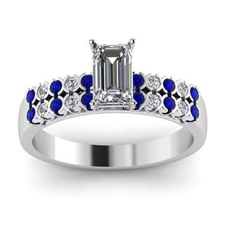 14k White Gold Blue Sapphire 1ct TDW White Diamond Parallel Circles GIA Certified Engagement Ring (G-H, SI1-SI2)