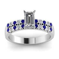 14k White Gold Blue Sapphire 1ct TDW White Diamond Parallel Circles GIA Certified Engagement Ring