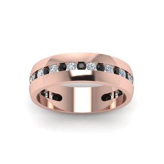 14K Rose Gold 7/8ct Round Cut Diamond Channel Set Mens Wedding Ring