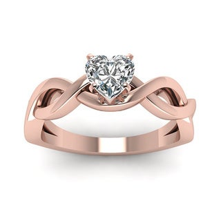 14K Rose Gold 1/2ct Shaped Twisted Solitaire Heart Engagement Ring GIA Certified